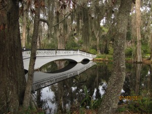 Magnolia's gardens feature numerous bridges, ponds and flowers that bloom all year.
