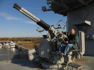 Jason tries his hand at anti-aircraft weaponry aboard the Yorktown.