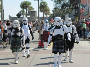 The kilt-wearing Storm Troopers were an interesting addition to the St. Patrick's Day Parade.  Even though it was March 12th, the celebrations for St. Patrick's day were in full swing.