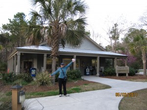 Palm trees greet Marianna at the James Island County Campground gatehouse.