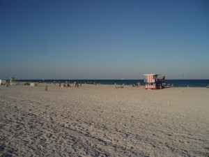 Southbeach is long with sugar-like sand, lots of people and lots of hotels
