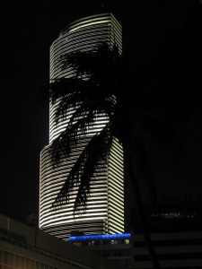 Beautifully lit building in Miami's downtown at night