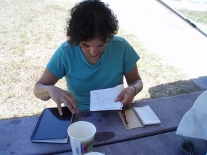 Here's a shot of Marianna working on the budget at the campsite.