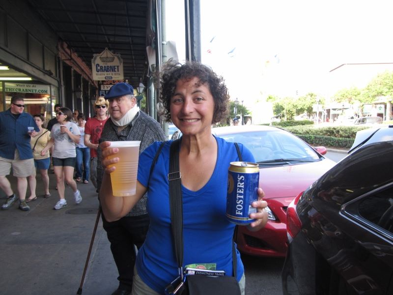 Like any good party town, you can walk the streets with your beverage of choice. Marianna tries beer