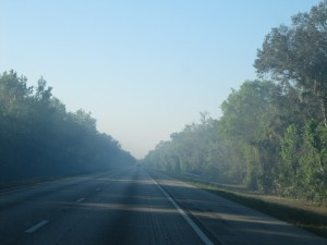 The Iron Horse Wildfire sends smoke across the I-95. It was smoky for at least an hour as we headed south.