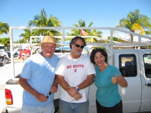 L to R: Bud (our camping neighbour at Boyd's, Phil and Marianna). Thanks for fixing Wendy up Phil!